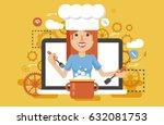 stock vector illustration chef... | Shutterstock .eps vector #632081753