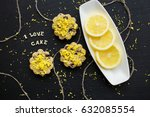 lemon cupcakes on a black...   Shutterstock . vector #632085554