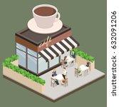isometric exterior of coffee... | Shutterstock .eps vector #632091206