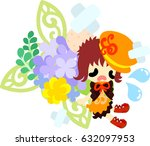 a cute girl who is hurt and an... | Shutterstock .eps vector #632097953