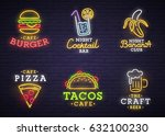 food and drink neon sign. neon... | Shutterstock .eps vector #632100230