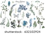 big set watercolor elements  ... | Shutterstock . vector #632102924