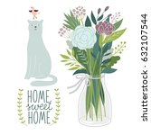 flowers and cat | Shutterstock . vector #632107544