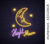 night moon neon sign. neon sign ... | Shutterstock .eps vector #632123618