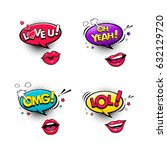 comic speech bubbles and female ... | Shutterstock .eps vector #632129720