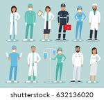 medical team concept in flat... | Shutterstock .eps vector #632136020