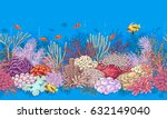 hand drawn underwater natural... | Shutterstock .eps vector #632149040