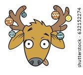 funny deer face  cartoon deer ...   Shutterstock .eps vector #632152274
