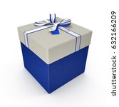 square blue giftbox with lid... | Shutterstock . vector #632166209