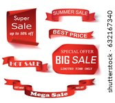 a set of red paper sale banners.... | Shutterstock .eps vector #632167340