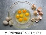 Raw Eggs In Glass Bowl On...