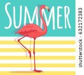 vector pink flamingo bird...   Shutterstock .eps vector #632172383