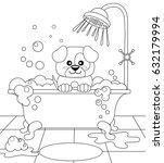 cute puppy taking bath. dog... | Shutterstock .eps vector #632179994