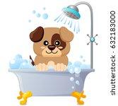 cute puppy taking bath. dog... | Shutterstock .eps vector #632183000