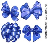vector of set with blue bows on ... | Shutterstock .eps vector #632185070