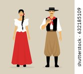 the argentines. a woman and a... | Shutterstock .eps vector #632185109