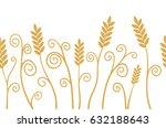 vector ears of wheat horizontal ...   Shutterstock .eps vector #632188643