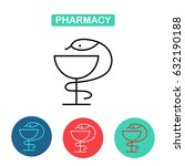 pharmacy icon with caduceus... | Shutterstock .eps vector #632190188