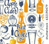 pattern with beer  cider and... | Shutterstock .eps vector #632190479