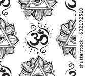 all seeing eye pyramid pattern. ... | Shutterstock .eps vector #632192510