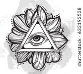 all seeing eye pyramid symbol.... | Shutterstock .eps vector #632192528