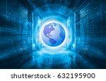 modern server room symmetry... | Shutterstock . vector #632195900