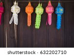 colourful of thai lanna paper... | Shutterstock . vector #632202710