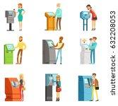 people using electronic self... | Shutterstock .eps vector #632208053