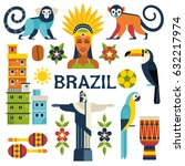 brazil icons collection. vector ... | Shutterstock .eps vector #632217974