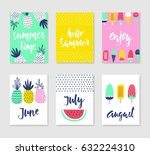 set of 6 cute creative cards... | Shutterstock .eps vector #632224310