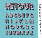 retro 3d font set  vector... | Shutterstock .eps vector #632225129