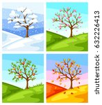 four seasons. illustration of... | Shutterstock .eps vector #632226413