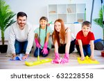 family cleaning house | Shutterstock . vector #632228558