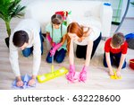 family cleaning house | Shutterstock . vector #632228600