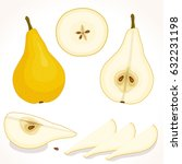 vector pear. set of whole ... | Shutterstock .eps vector #632231198