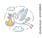 stork and baby icon... | Shutterstock . vector #632248844