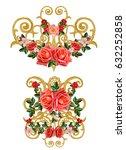 golden textured curls. oriental ... | Shutterstock . vector #632252858