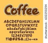 brown vector letters  numbers ... | Shutterstock .eps vector #632253254
