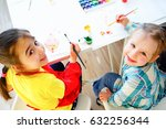 art lesson in kindergarten | Shutterstock . vector #632256344