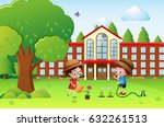boy and girl watering plants at ... | Shutterstock .eps vector #632261513