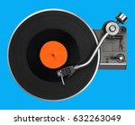 abstract turntable on blue | Shutterstock . vector #632263049