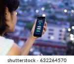 mobile banking.female hands... | Shutterstock . vector #632264570