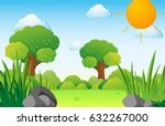 scene with trees on the field... | Shutterstock .eps vector #632267000