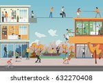 building with cartoon business... | Shutterstock .eps vector #632270408