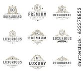 luxury monogram logos templates ... | Shutterstock .eps vector #632278853