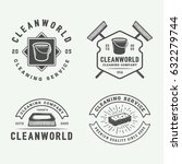 set of retro cleaning logo... | Shutterstock .eps vector #632279744