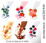 set of different milk splashes... | Shutterstock .eps vector #632281940