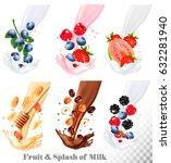 set of different milk splashes... | Shutterstock .eps vector #632281940