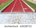 Long Jump Pit In A Stadium - stock photo
