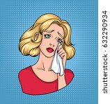 crying woman face. sad blonde... | Shutterstock .eps vector #632290934